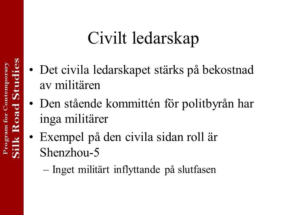 Civilt ledarskap Det civila ledarskapet stärks på bekostnad av militären. Den stående kommittén för politbyrån har inga militärer.