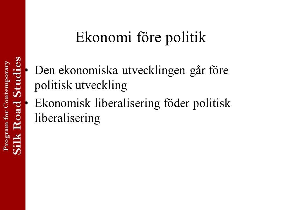 Ekonomi före politik Den ekonomiska utvecklingen går före politisk utveckling.