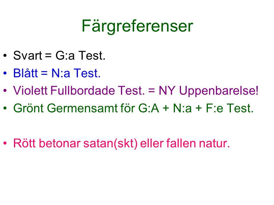 Färgreferenser Svart = G:a Test. Blått = N:a Test.