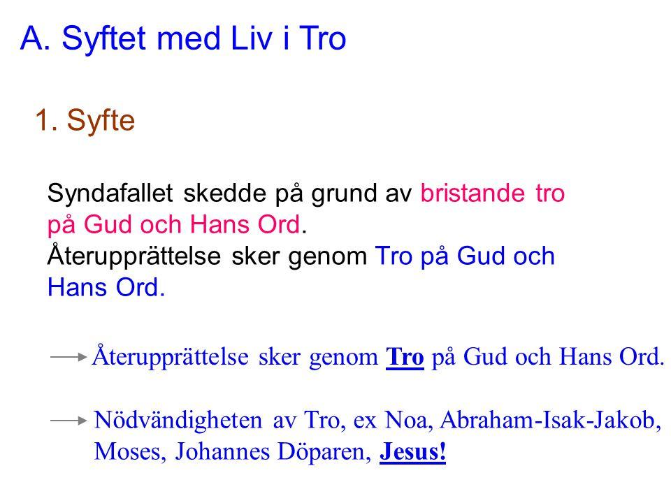 A. Syftet med Liv i Tro 1. Syfte