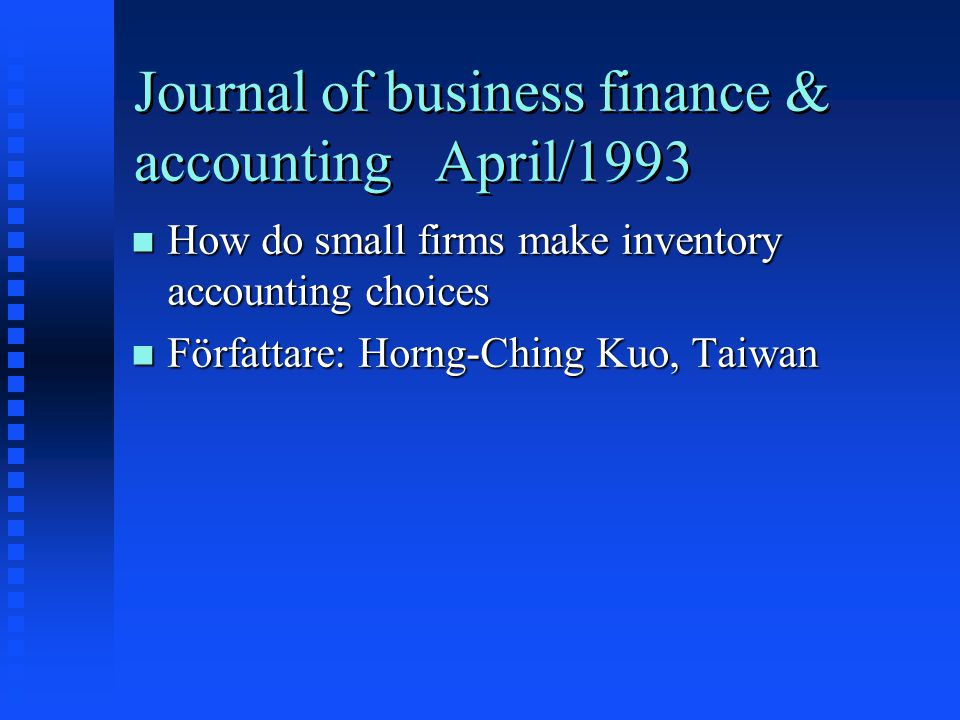 Journal of business finance & accounting April/1993