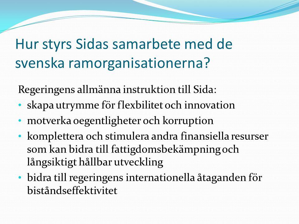 Hur styrs Sidas samarbete med de svenska ramorganisationerna