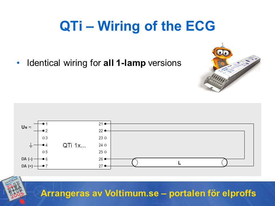 QTi – Wiring of the ECG Identical wiring for all 1-lamp versions