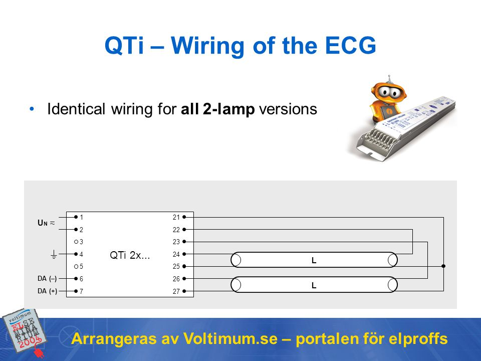 QTi – Wiring of the ECG Identical wiring for all 2-lamp versions