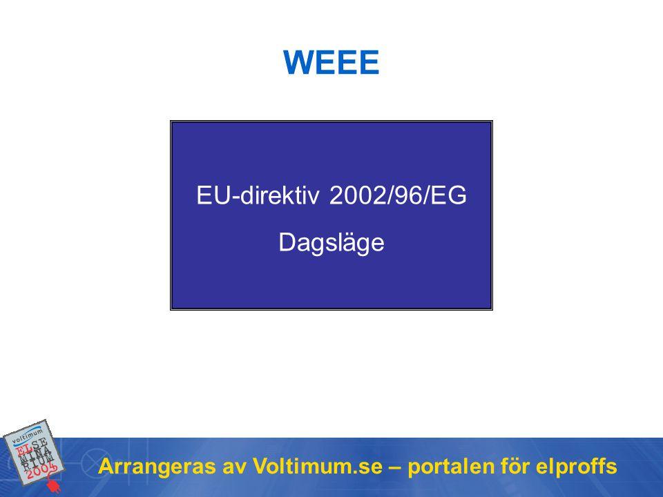 WEEE EU-direktiv 2002/96/EG Dagsläge
