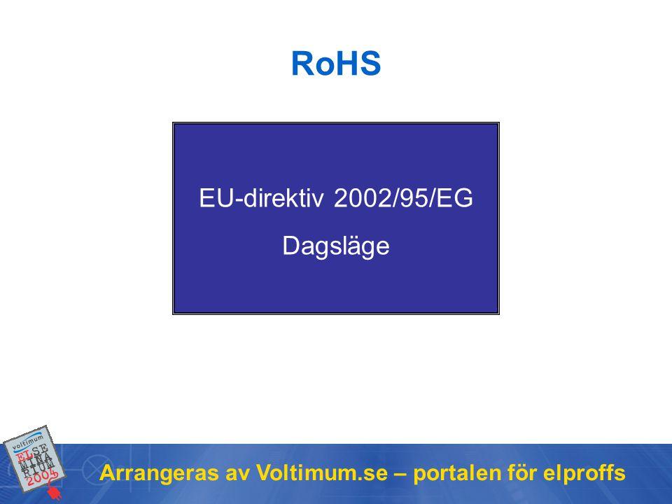 RoHS EU-direktiv 2002/95/EG Dagsläge