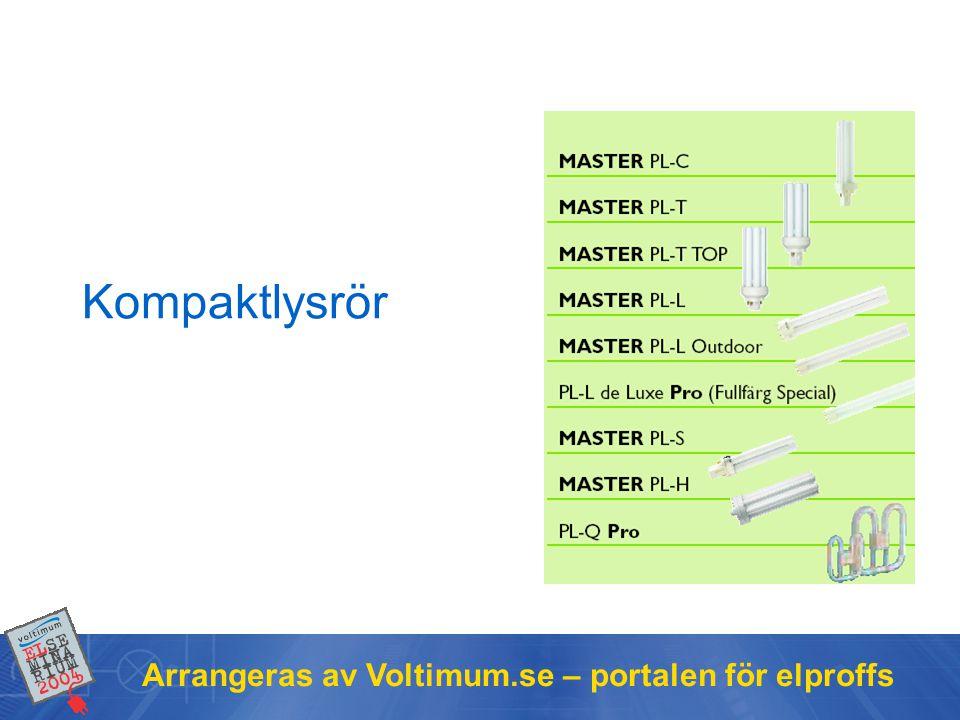 Kompaktlysrör Arrangeras av Voltimum.se – portalen för elproffs