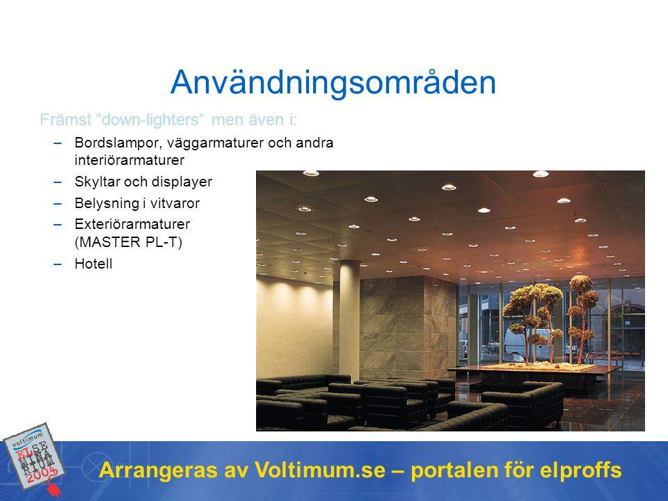 Användningsområden Arrangeras av Voltimum.se – portalen för elproffs