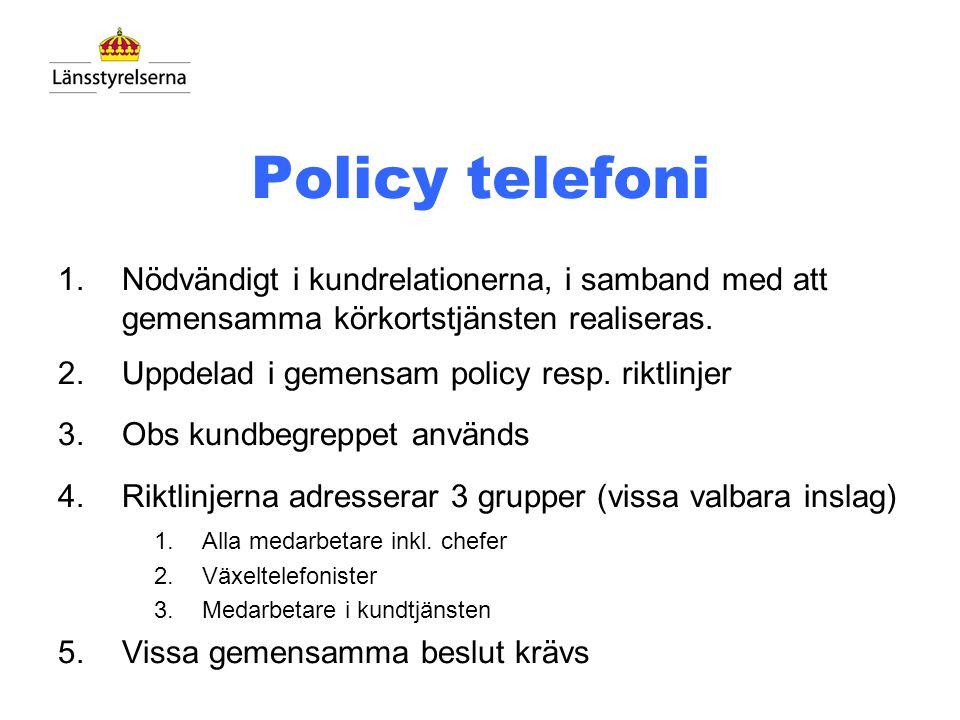 Policy telefoni Nödvändigt i kundrelationerna, i samband med att gemensamma körkortstjänsten realiseras.