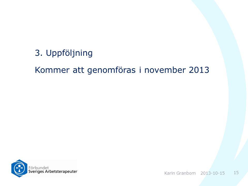3. Uppföljning Kommer att genomföras i november 2013