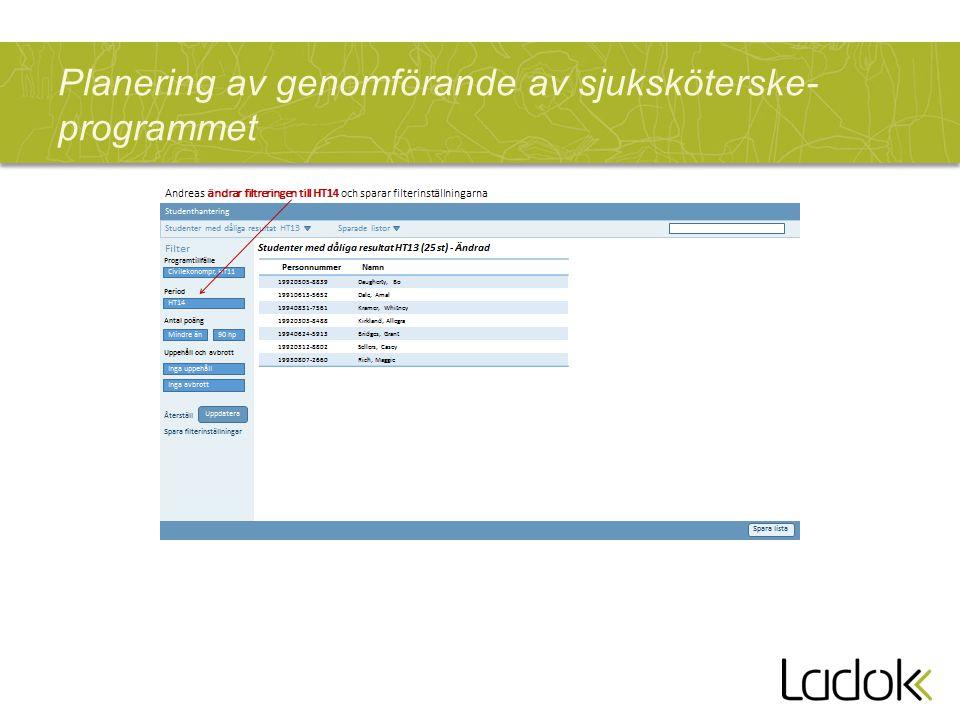 Planering av genomförande av sjuksköterske-programmet