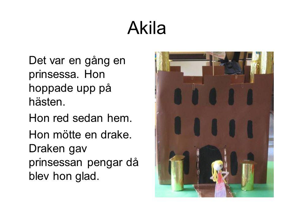 Akila Det var en gång en prinsessa. Hon hoppade upp på hästen.
