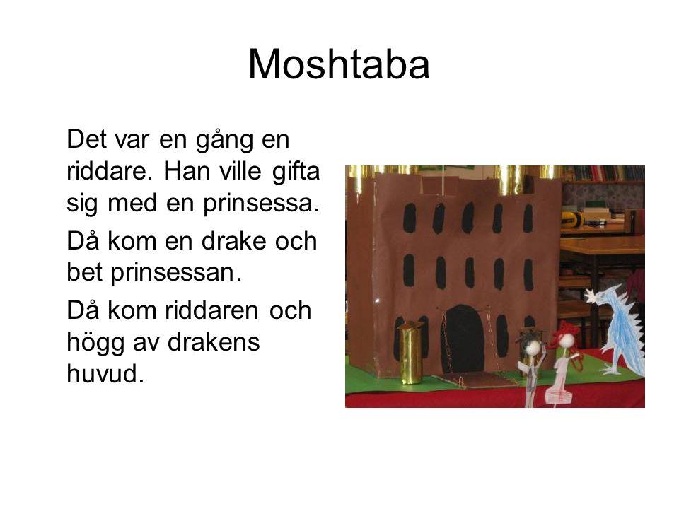 Moshtaba Det var en gång en riddare. Han ville gifta sig med en prinsessa. Då kom en drake och bet prinsessan.