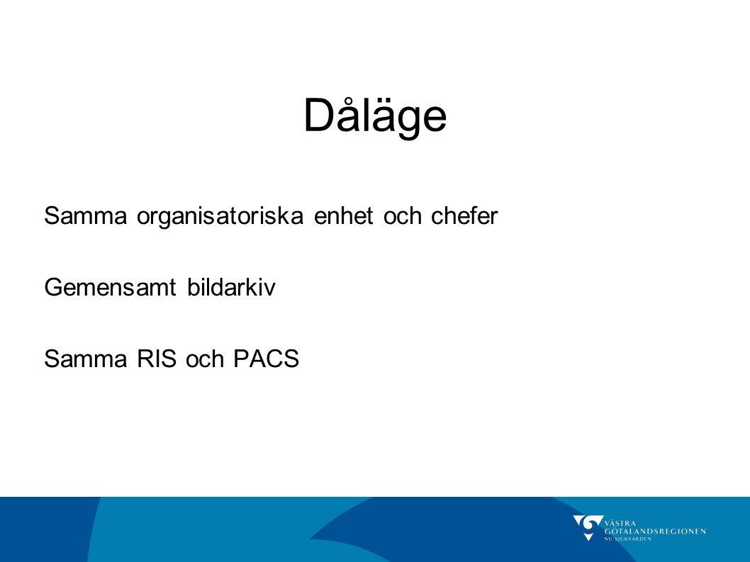 Dåläge Samma organisatoriska enhet och chefer Gemensamt bildarkiv