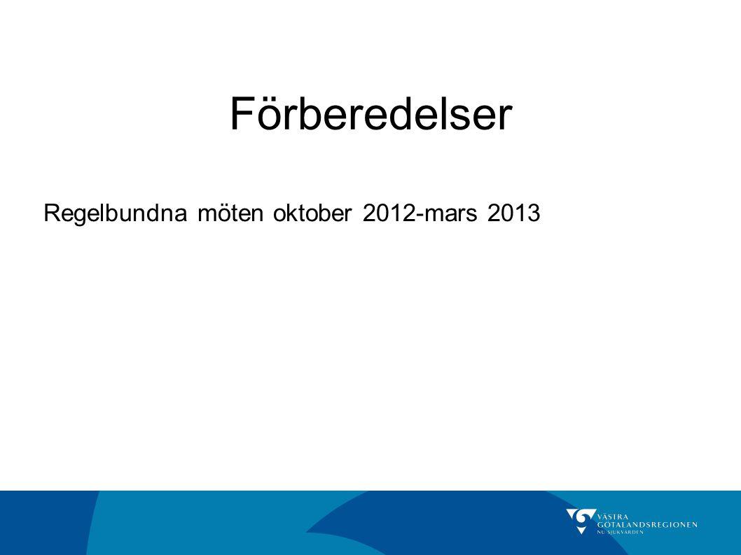 Förberedelser Regelbundna möten oktober 2012-mars 2013