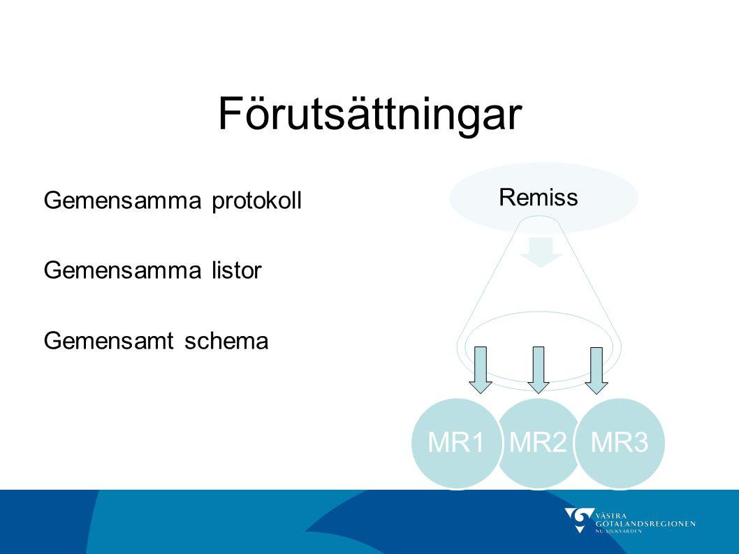 Förutsättningar MR2 MR1 MR3 Gemensamma protokoll Remiss
