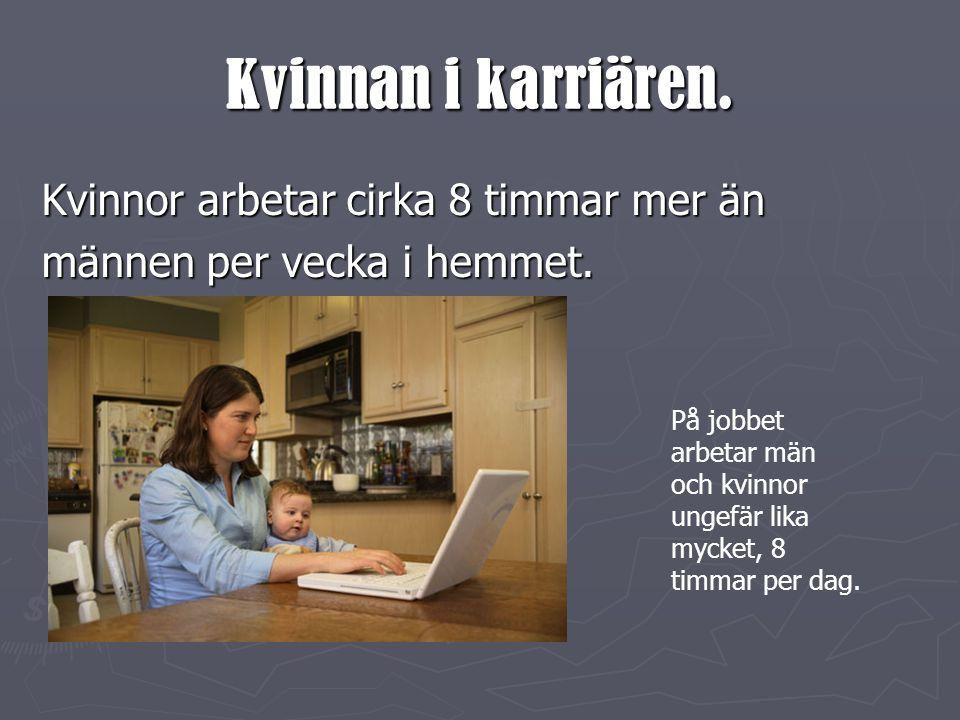 Kvinnan i karriären. Kvinnor arbetar cirka 8 timmar mer än
