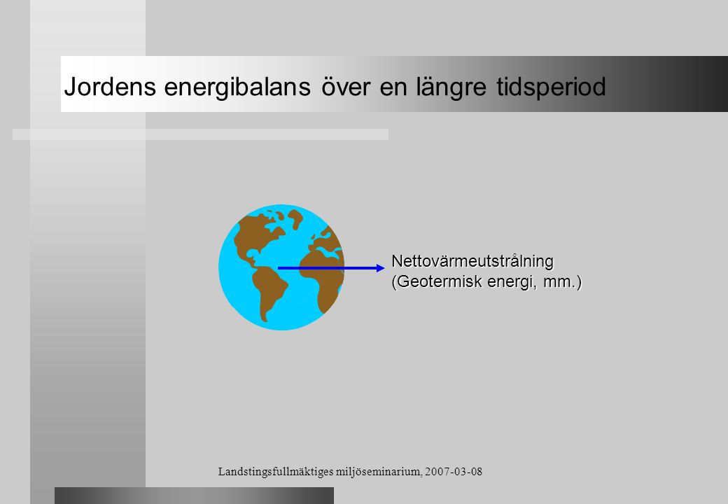 Jordens energibalans över en längre tidsperiod