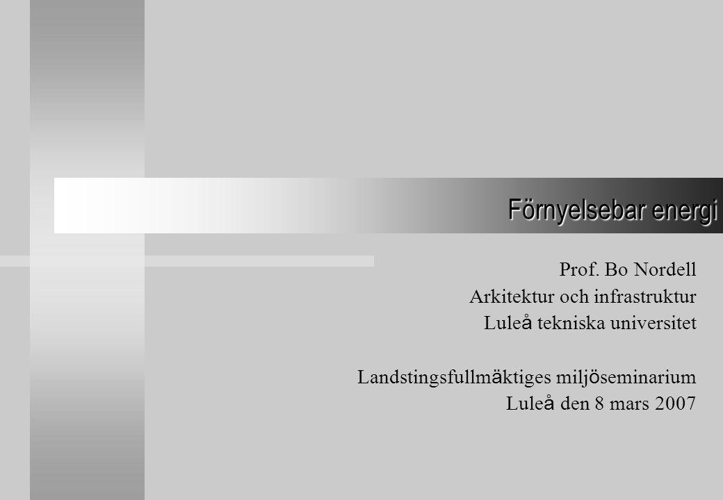 Förnyelsebar energi Prof. Bo Nordell Arkitektur och infrastruktur