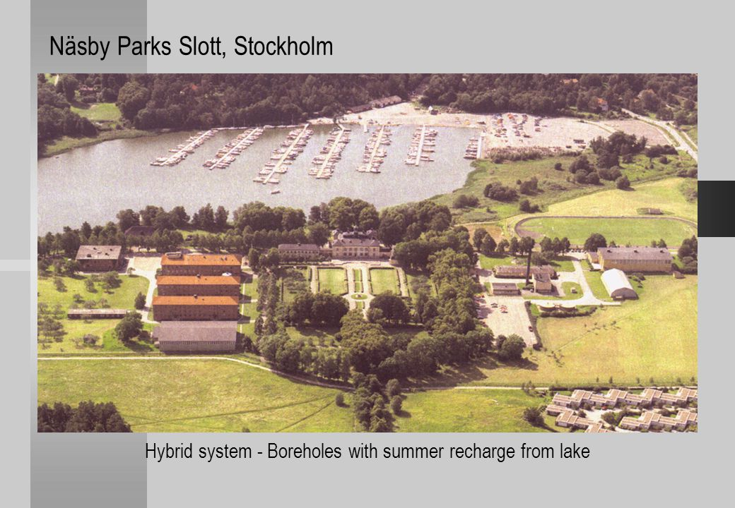 Hybrid system - Boreholes with summer recharge from lake