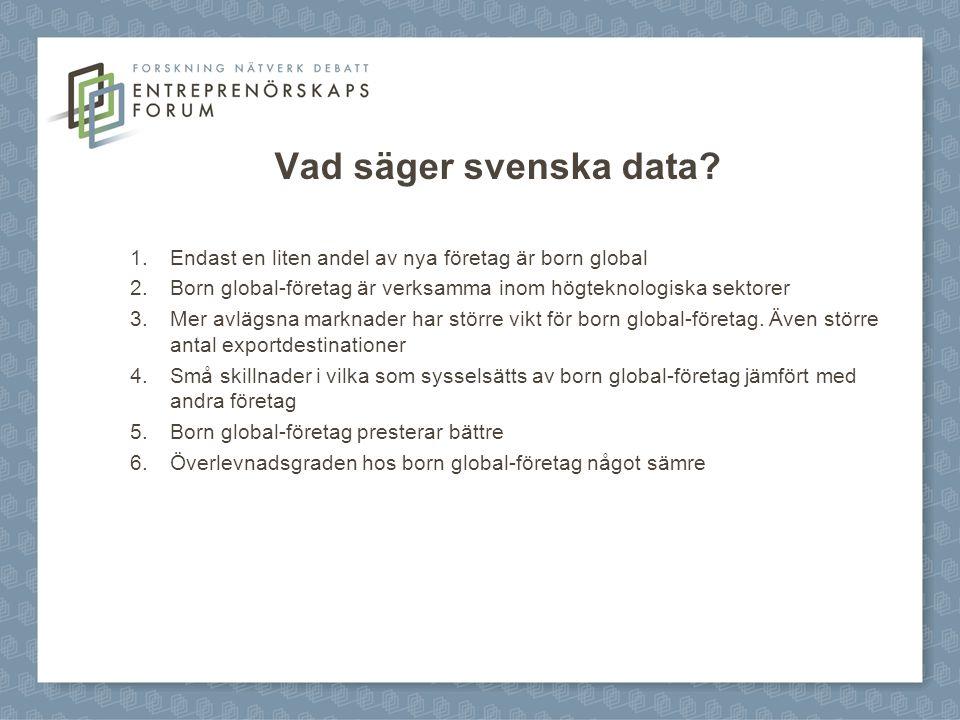 Vad säger svenska data Endast en liten andel av nya företag är born global. Born global-företag är verksamma inom högteknologiska sektorer.