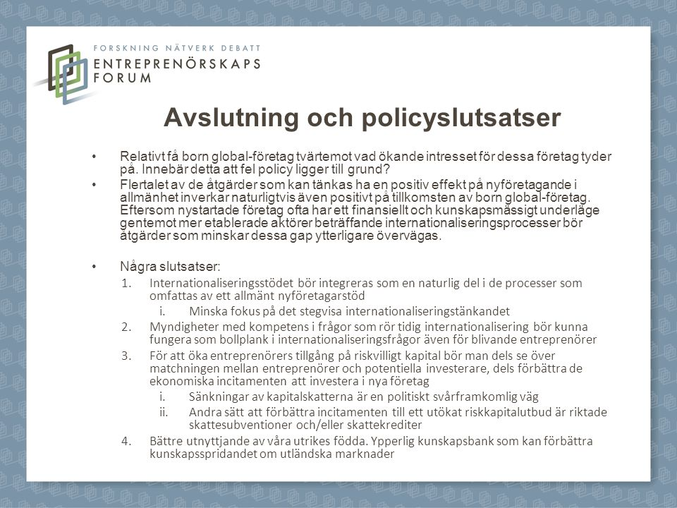 Avslutning och policyslutsatser