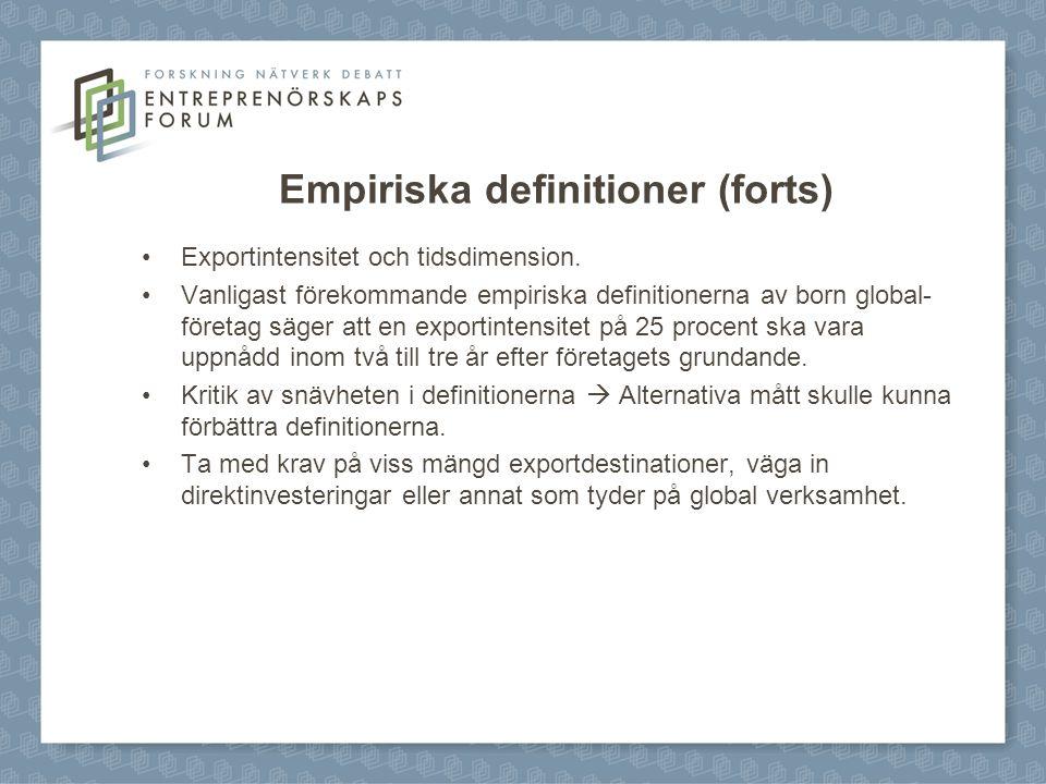 Empiriska definitioner (forts)