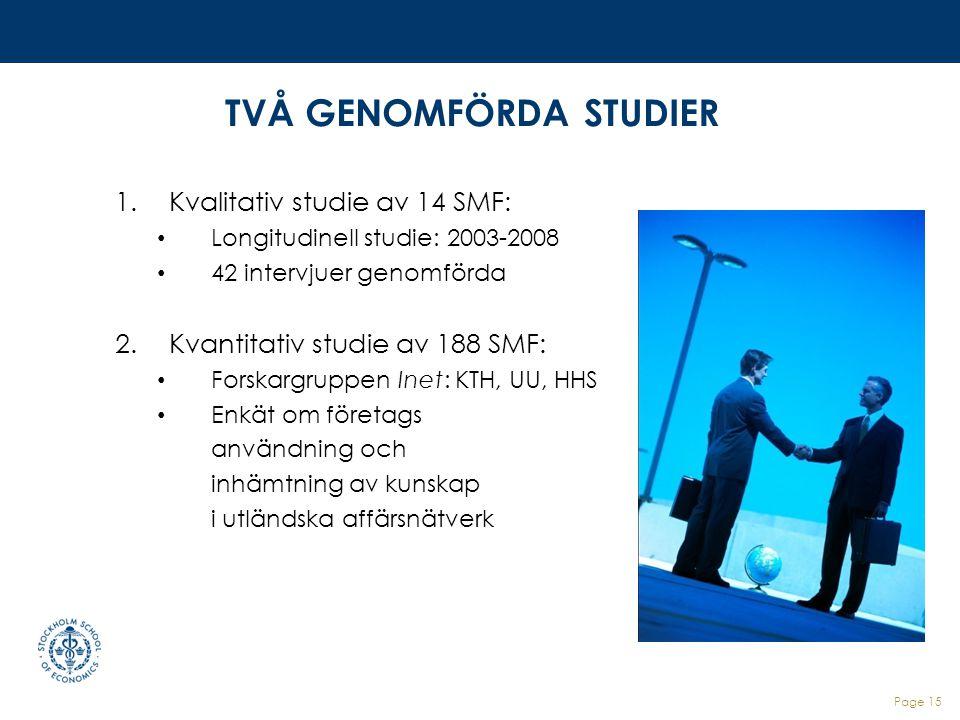 TVÅ GENOMFÖRDA STUDIER