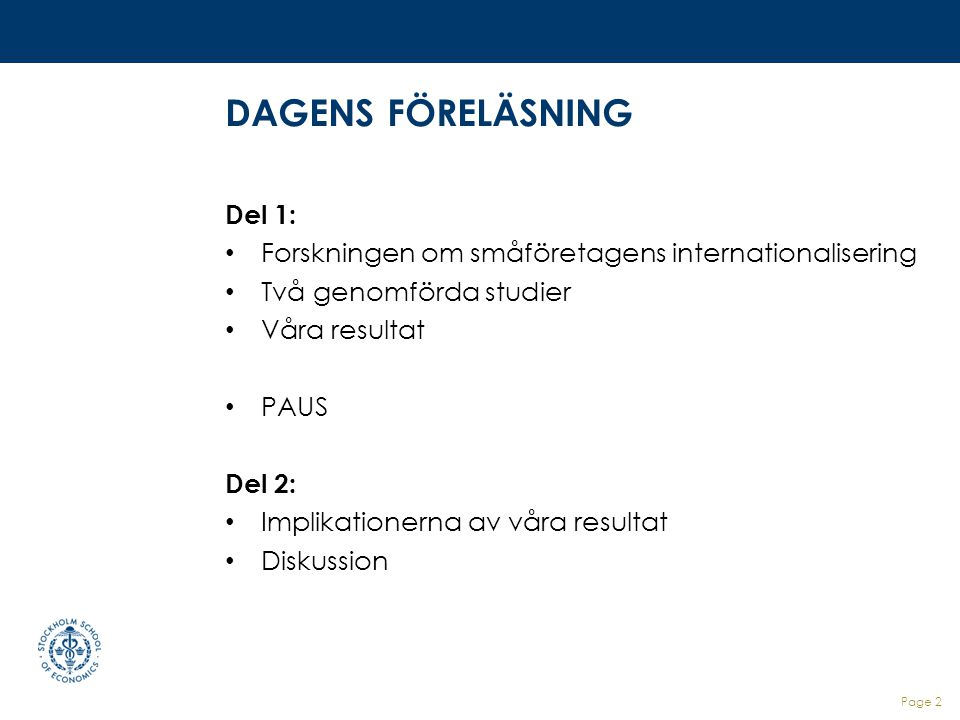 DAGENS FÖRELÄSNING Del 1: