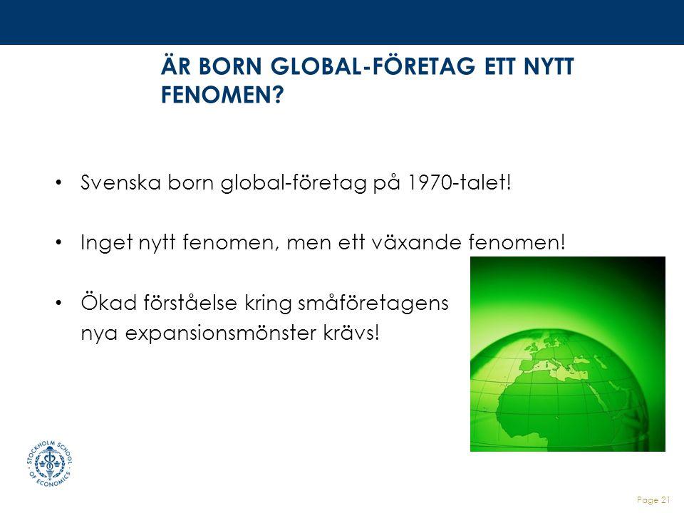ÄR BORN GLOBAL-FÖRETAG ETT NYTT FENOMEN