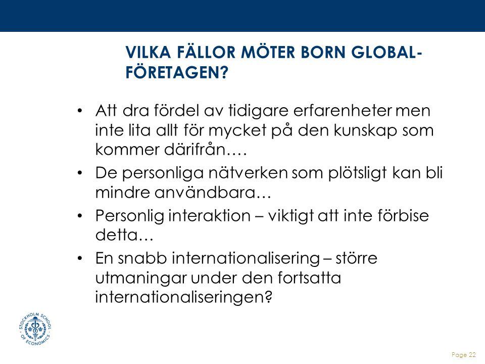 VILKA FÄLLOR MÖTER BORN GLOBAL-FÖRETAGEN