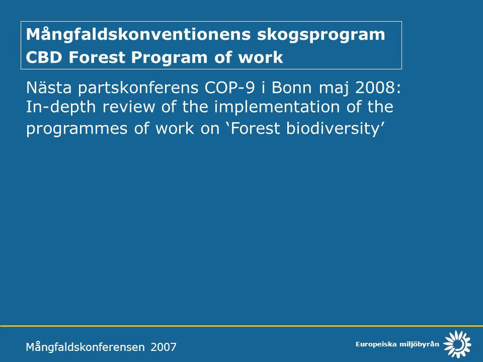 Mångfaldskonventionens skogsprogram CBD Forest Program of work