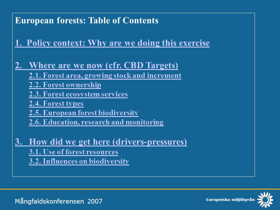 European forests: Table of Contents