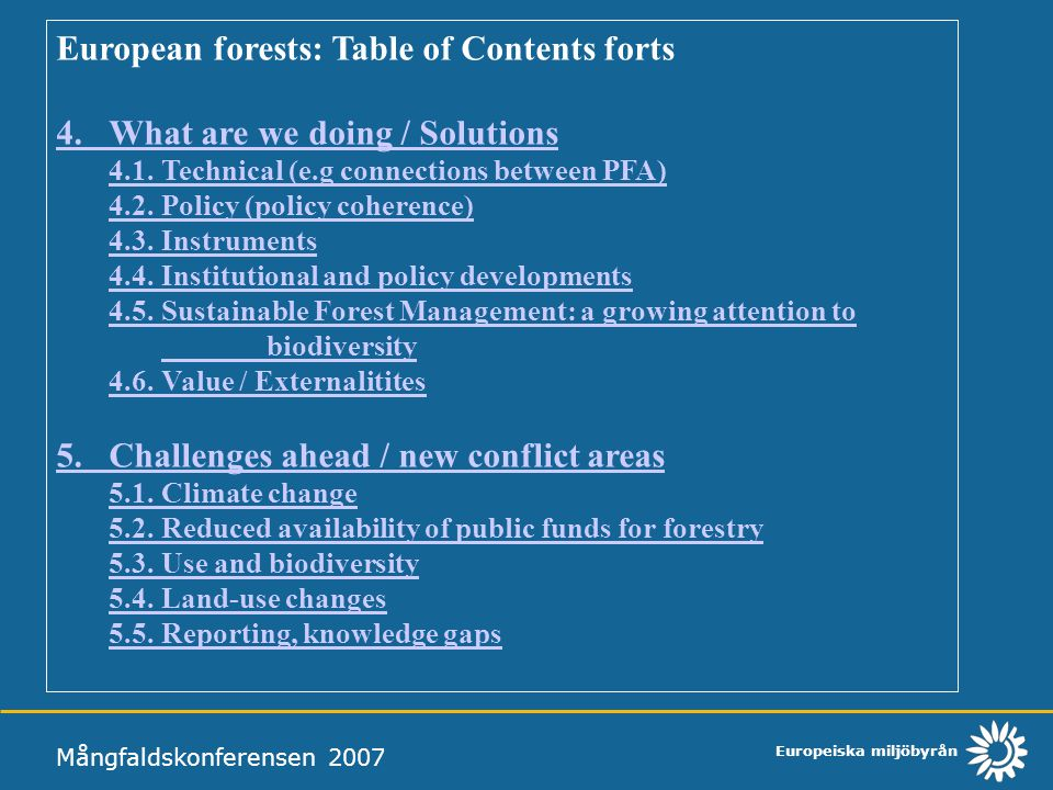 European forests: Table of Contents forts
