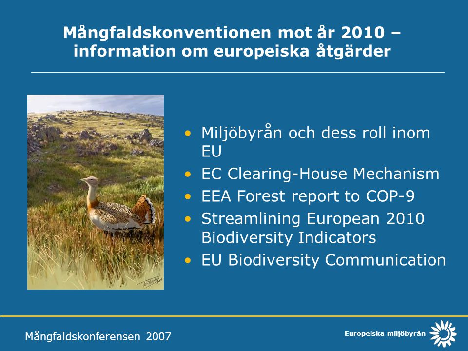 Mångfaldskonventionen mot år 2010 – information om europeiska åtgärder