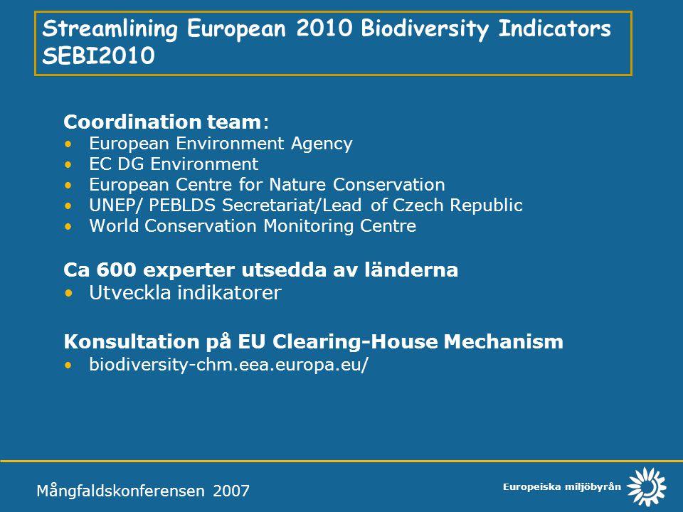 Streamlining European 2010 Biodiversity Indicators SEBI2010