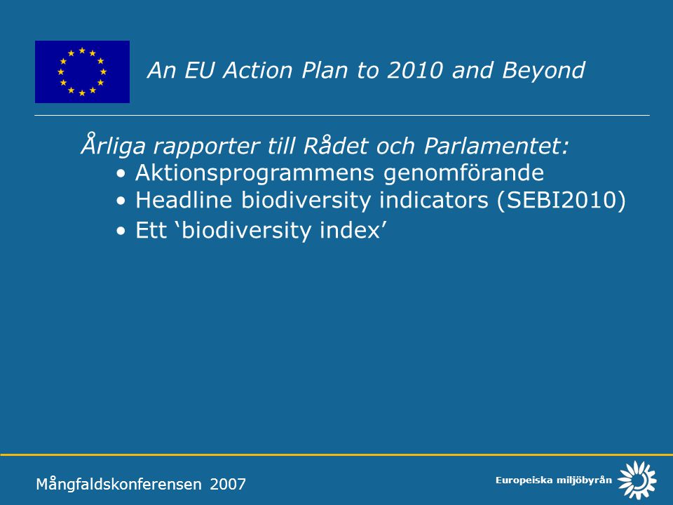 An EU Action Plan to 2010 and Beyond