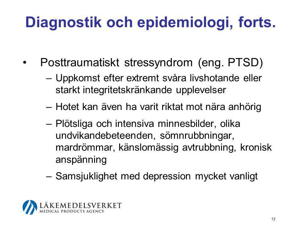 Diagnostik och epidemiologi, forts.