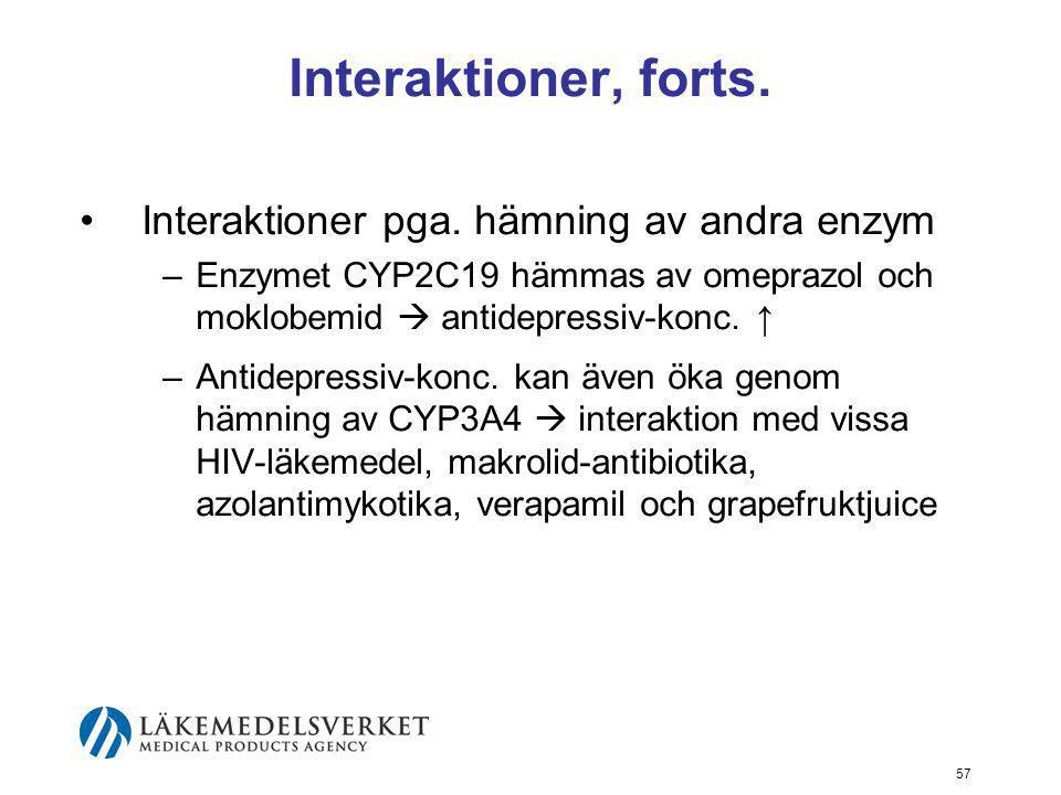 Interaktioner, forts. Interaktioner pga. hämning av andra enzym