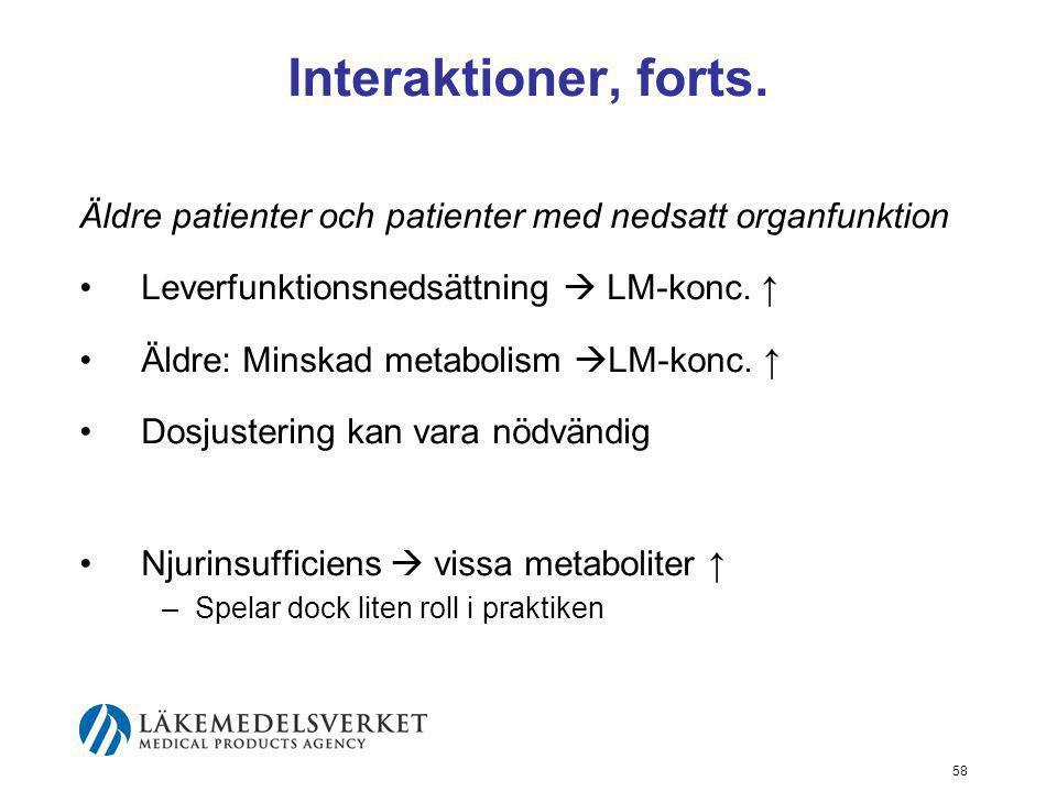 Interaktioner, forts. Äldre patienter och patienter med nedsatt organfunktion. Leverfunktionsnedsättning  LM-konc. ↑