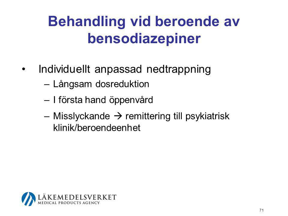 Behandling vid beroende av bensodiazepiner