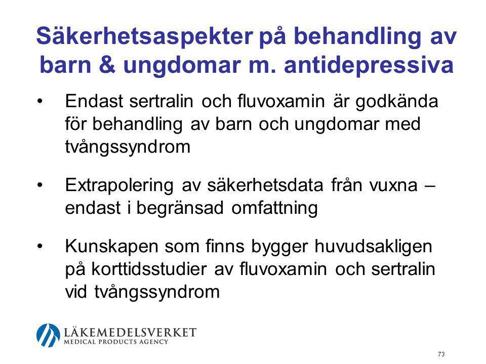 Säkerhetsaspekter på behandling av barn & ungdomar m. antidepressiva