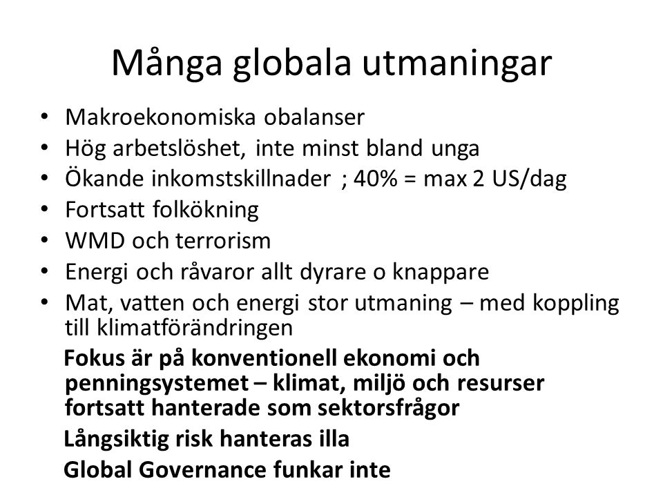 Många globala utmaningar