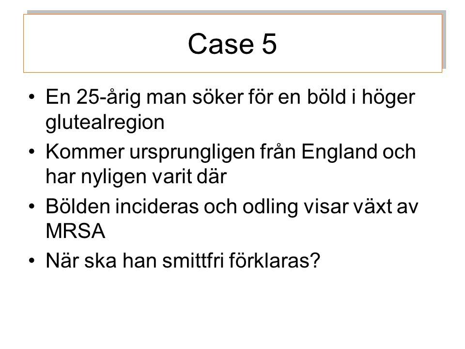 Case 5 En 25-årig man söker för en böld i höger glutealregion
