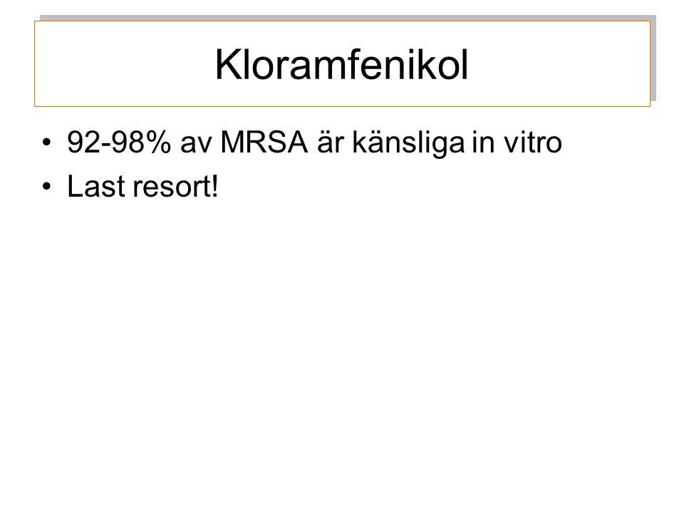 Kloramfenikol 92-98% av MRSA är känsliga in vitro Last resort!