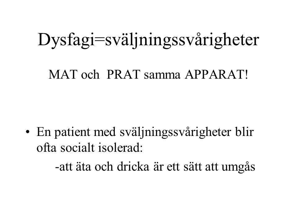 Dysfagi=sväljningssvårigheter
