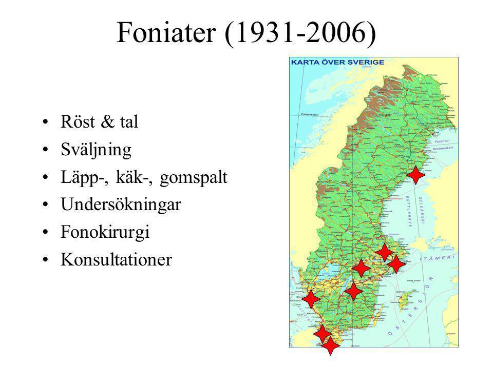 Foniater (1931-2006) Röst & tal Sväljning Läpp-, käk-, gomspalt