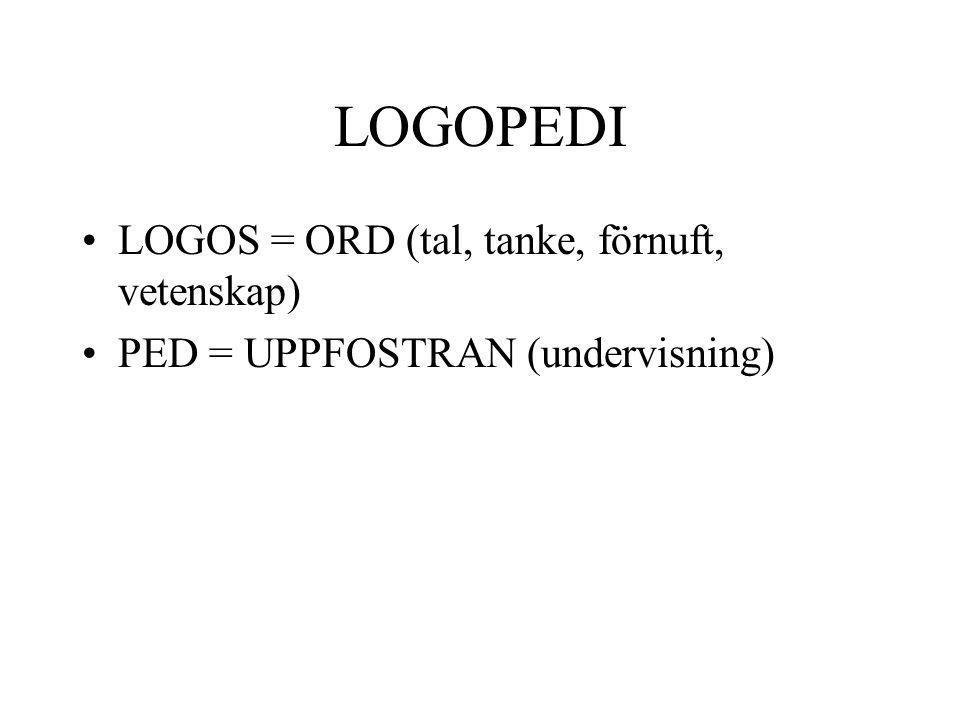 LOGOPEDI LOGOS = ORD (tal, tanke, förnuft, vetenskap)