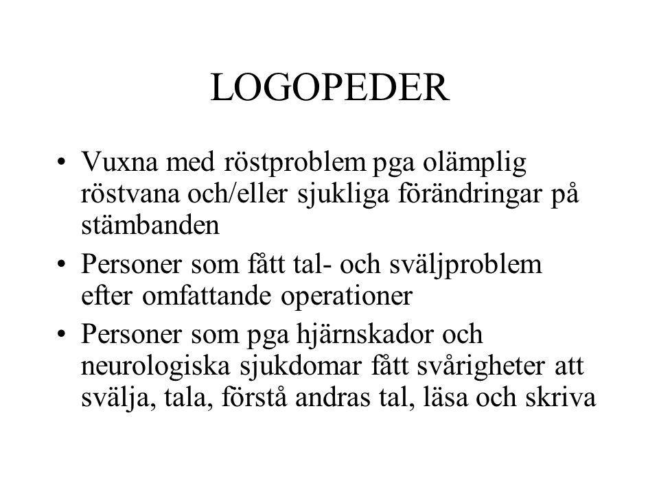 LOGOPEDER Vuxna med röstproblem pga olämplig röstvana och/eller sjukliga förändringar på stämbanden.