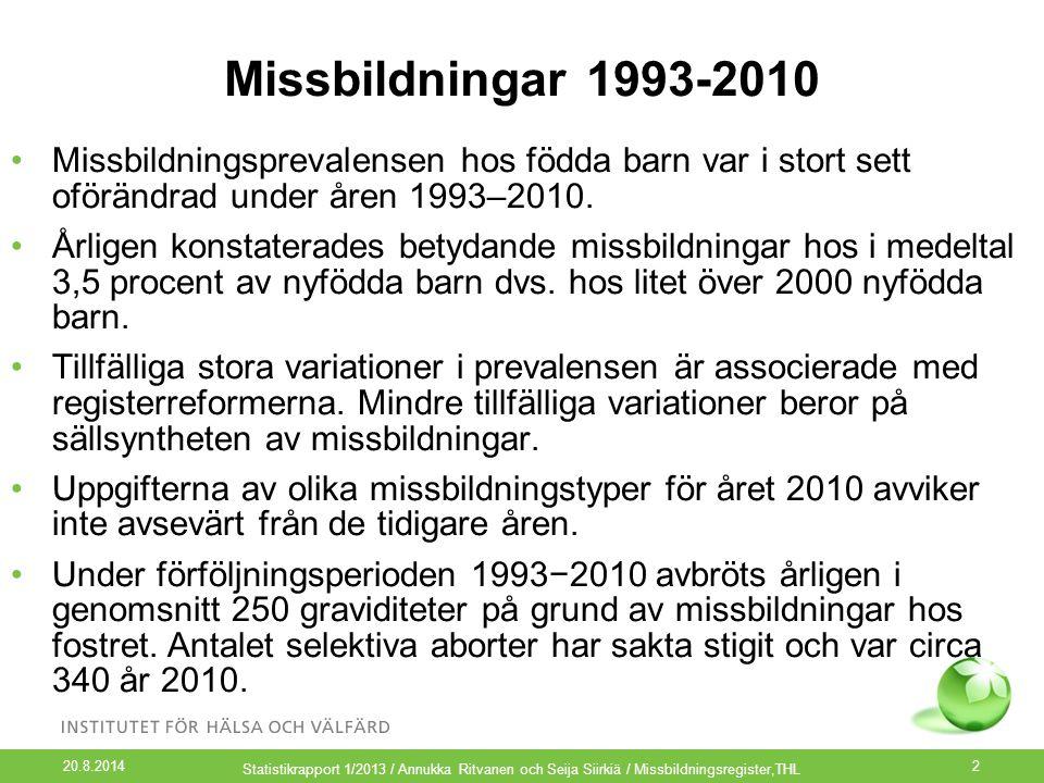 Missbildningar 1993-2010 Missbildningsprevalensen hos födda barn var i stort sett oförändrad under åren 1993–2010.